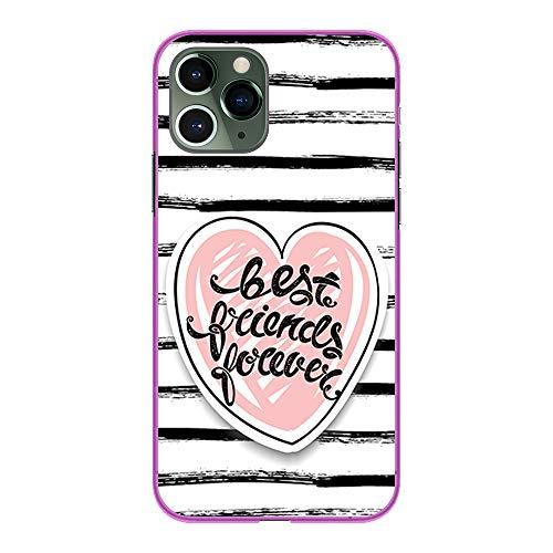 BJJ SHOP Funda Rosa para [ iPhone 11 Pro ], Carcasa de Silicona Flexible TPU, diseño: Corazon Best Friends Forever con Fondo a Rayas