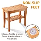 Premium Bamboo Shower Bench with Shelf - Wooden 2-Tier Bathroom and Shoe Organizer with Storage Shelf #3