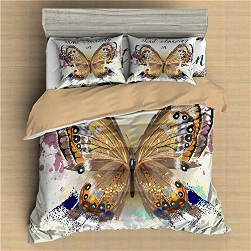 XTQDM Bedding set,3D Butterfly Printed Pillow Bedding Set Home Textile Comforter Queen King Size Duvet Cover Set With Pillowcase Bedclothes UKSupKing220x260cm JX500-1
