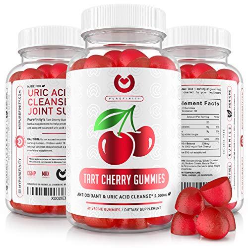 Tart Cherry Gummies – Raw, Natural Tart Cherry Extract – Gummy Alternative to Tart Cherry Capsules, Juice, Pills - Advanced Uric Acid Cleanse, Powerful Antioixidant w/ Joint Support - 60 Vegan Gummies