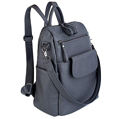 UTO Damen Backpack Purse PU gewaschen Leder Ladies Rucksack Schultertasche grau