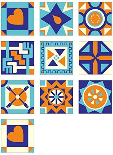 10 Piezas Creativas Pegatinas Decorativas Para Azulejos, Azulejos De Pared Autoadhesivos Extraíbles Lámina Adhesiva Colorida Living Deco Mosaico Lámina Para Azulejos Cocina Baño 20X20cm