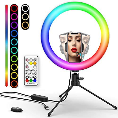 Luz de Anillo LED 10.2' con Trípode, Boaraino RGB Ring Light con Soporte de...