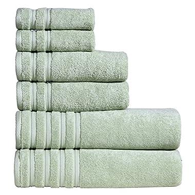 DREAM CASTLE 650 GSM 100% Cotton 6 Piece Bath Towel Set,Mint color,(90016) Brentwood Collection Towel Set by