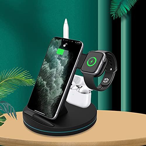 Cargador inalámbrico 3 en 1 de 15 W rápido compatible con Apple Watch y AirPods, cargador rápido certificado Qi compatible con iPhone 12/12 Pro/11/XS/X/8/8 Plus; Samsung Galaxy etc