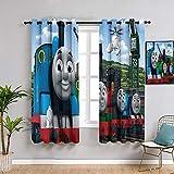 ZhiHdecor Thomas il piccolo treno tende con occhielli 213,4 x 160 cm Thomas il trenino rosa, set di tende con stampa multicolore