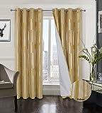 Always4u - Cortina opaca de terciopelo con ojales, para salón, cocina, aislamiento térmico, antifrío, para habitación o ventana de niña, 140 x 245 cm, color amarillo