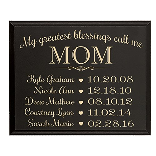 LifeSong Milestones Personalized Gifts for Mom with Family Established Year Wall Plaque with Children's Names and Birth Dates to Remember My Greatest Blessings Call me Mom (9x12, Black)