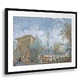 Printed Paintings Passepartout (80x60cm): Jean Démosthène Dugourc - Figuras en un jardín...
