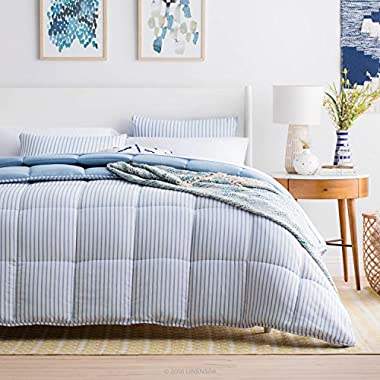 Linenspa Nautical Chambray Comforter Set - Reversible - Down Alternative Fill - Hypoallergenic - All Season - Oversized Queen - Cloudy Sky Blue