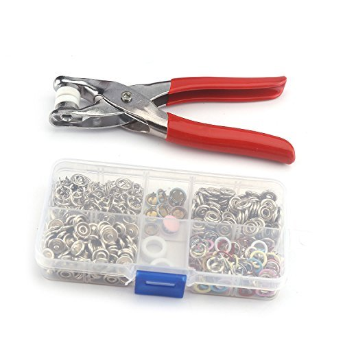 Button Snap Fixing Tool Kit Metal No Sewing Press Studs Poppers Buttons Snap Fastener for Crafts Clothes 9.5mm 1 Sets 110pcs 7 Mixed Color