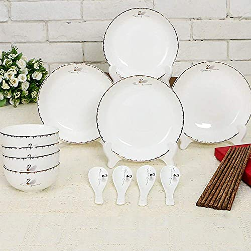XCTLZG Juego de vajilla de 56 Piezas Juego de vajilla de Porcelana Blanca Marfil,vajilla de cerámica con Cuencos,Platos de Postre,Platos de Sopa,Platos de Cena,28