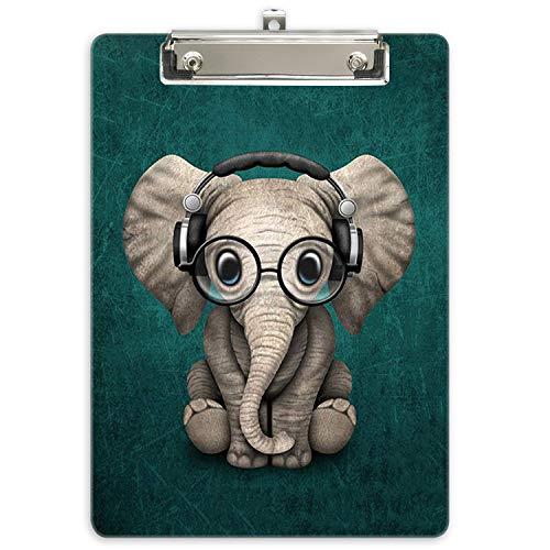 Hnogri Portablocco A4 plastica rigida, Fashion design clipboard a4, Tavolette per appunti e raccoglitori moduliDimensione lettera, Elefante
