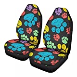 Baxinh Cute Dog Paw Print Pattern Universal Self-Driving Car Seat Cover Protector Fashion Bucket Seat Cover Women's Men's Easy-to-Clean All-Inclusive 2-Piece Set