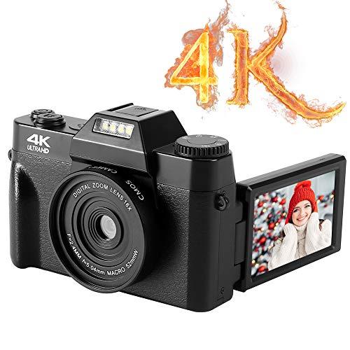 Appareil Photo Numérique 4K Vlogging Camera Appareil Photo Numérique Compact 48MP avec Zoom Numérique 16X Appareil Photo 3,0 Pouces Flip Screen Caméras pour Les Débutants