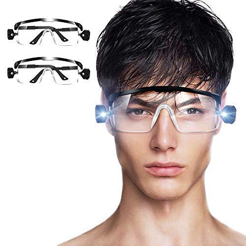LETOUR - 2 gafas de seguridad con visión de luz LED para hombre y mujer, gafas protectoras para lámpara LED de trabajo