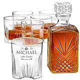 Murrano Whiskey Karaffe + 6er Whiskygläser Set mit Gravur - 1000ml Whisky Dekanter - Geschenk zum Geburtstag für Männer - Monogramm
