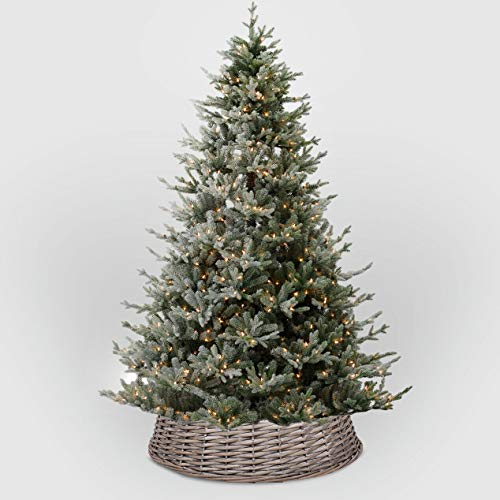 Greenleaves Wicker Christmas Tree Skirt Xmas Stand Cover Xmas Decoration Wicker Basket Decor (Medium)