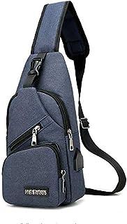 Men's Chest Bag USB Charging Canvas Multipurpose Large-Capacity Messenger Bag (Dark Blue)