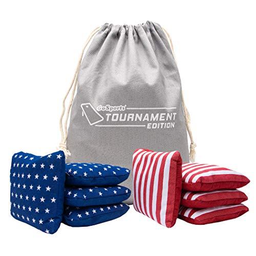 GoSports Dual Sided Cornhole Bean Bags | Slide & Stop Regulation Tournament Bean Bags Set of 8