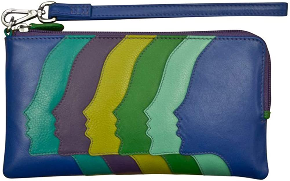 ili New York 7427 Leather Faces Clutch with Detachable Wristlet RFID Lining
