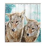 CPYang Duschvorhänge Winter Schnee Wolf Wasserdicht Schimmel Resistent Bad Vorhang Badezimmer Home Decor 168 x 182 cm mit 12 Haken