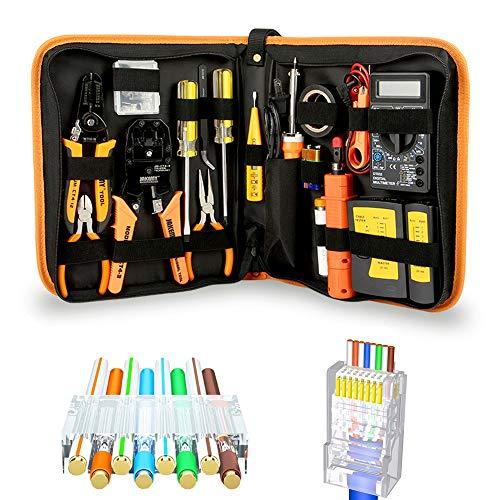 Juego de herramientas de red, herramientas de reparación de cables cortador de pelado, crimpadora coaxial, perforadora RJ11 RJ45 Cat5 Cat6 pelacables detector de datos, profesional para pruebas de LAN