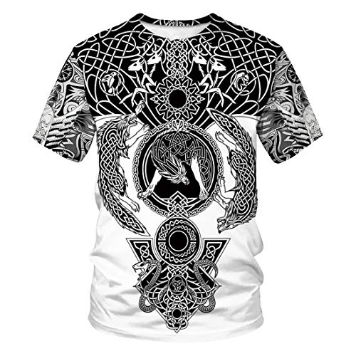 Ning Herren Neuheit Grafik Totem der Wikinger Hemd Kurzarm Sommer Beiläufig Pop T-Shirt,M