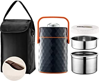 Food Thermos, Food Jar Vacuum Insulated Stainless Lunch Thermos with Luch Bag,BPA Free Lunch Box with Handle Lid,Leak Proof Double Wall Vacuum Insulated Soup Container,Black,2.0L