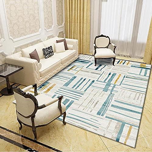 CLYDX Alfombras Salon Habitación Alfombra Pasillo Lavables Rug Dormitorio Sala de Estar Alfombra Antideslizante Alfombra para el Juego de los niños Decora el 120x160 cm (Línea Azul)