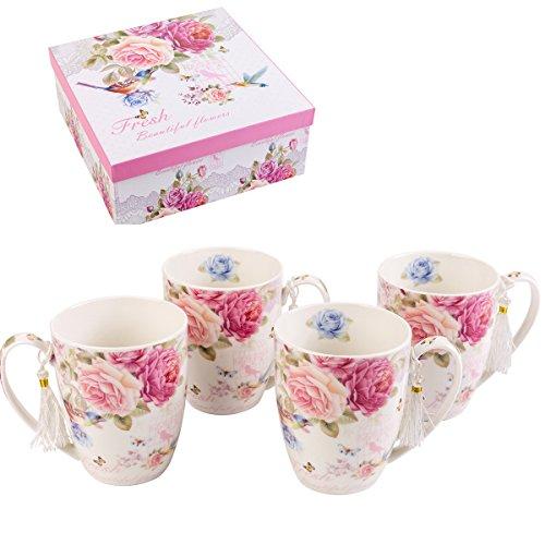 London Boutique K414Set von 4Tassen, Geschenk-Set, Vogel Rose Butterfly