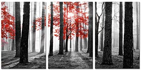 Welmeco Black White and Red Tree in Sunshine Forest Picture Nature Landscape Giclee Canvas Prints product image
