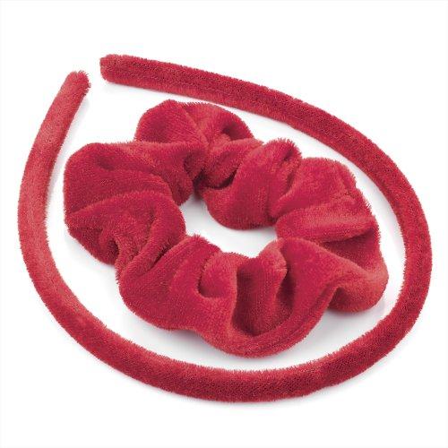 Set Cheveux – recouvert de tissu en velours rouge Alice bande cheveux et Chouchou de