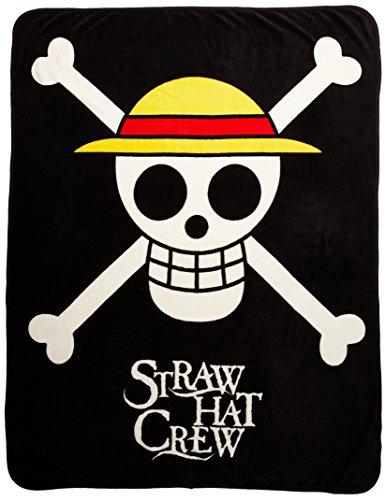 "GE Animation GE-57051 One Piece Straw Hat Pirates Throw Blanket, 50"" x 60"",Black"