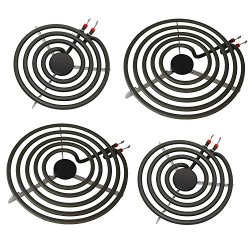 "S-Union 4 Pack MP22YA Electric Range Burner Element Unit Set - 2 pcs MP15YA 6"" and 2 pcs MP21YA 8"" Replacement for Hardwick & Jenn Air & Kenmore & Maytag & Norge & Whirlpool Electric Range Stove"
