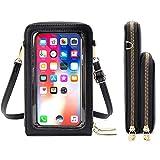 Jangostor Bolsa de teléfono celular con pantalla táctil, billetera cruzada para teléfono celular con bloqueo RFID, portatarjetas, billetera, pequeños bolsos de hombro para mujeres (C-Negro)