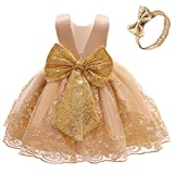 0-6T Big Bowknot Sequins Embroidered Lace Party Tutu Gown Toddler Baby Girls Dress with Headwear Easter Ball Gown Dress Golden 80