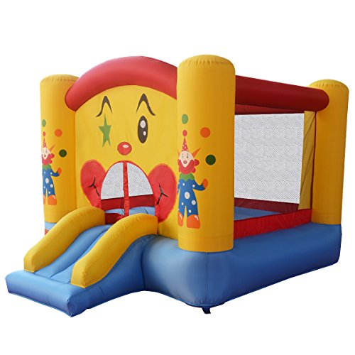 Goplus Trampolino Gonfiabile Per Bambini,Castello Gonfiabile, Area Di Gioco Gonfiabile Con Viso Da Pagliaccio E Scivolo 300X225X175 Cm