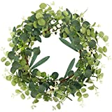 WXBOOM 20Inch Artificial Eucalyptus Wreath for Front Door Greenery Wreath with Willow Leaves and Big Berries Summer Wreath for Wall Window Indoor Decor