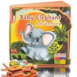 First Puzzles for Toddlers Baby Elephant Adventure Toy Book, Learning activity books for toddlers, Educational toys for 1 year olds, 2 year olds, 3 year olds, Jungle Animals Puzzle Toys