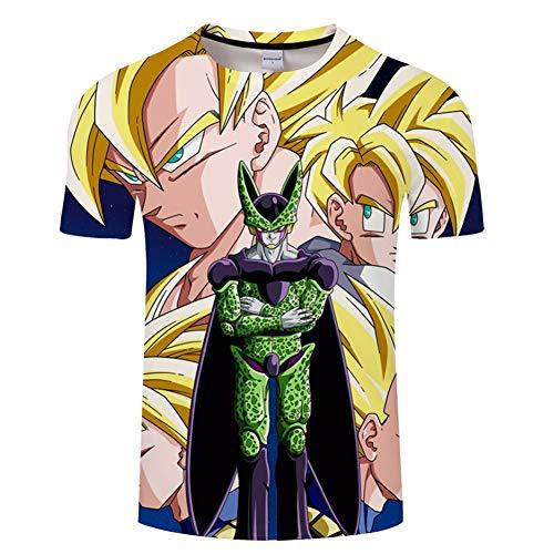 XJXTX Camisetas 3D Cuello Redondo Camisa Manga Unisex Corta Dragon Ball Cell XXXL