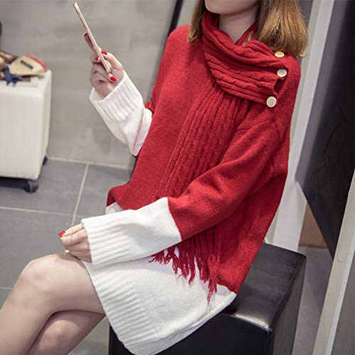 YUKNICO pullover pullover vrouwen knopen ronde hals lange mouwen pullover met sjaal herfst winter mode dames topkleding plus maat