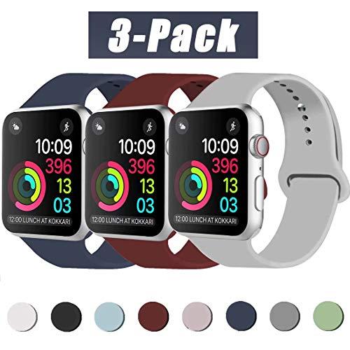 INZAKI Compatibile con Cinturino Apple Watch 42mm 44mm, Cinturino di Ricambio Sportivo Classico in Silicone Morbido per Braccialetto per iWatch Serie 5/4/3/2/1,M/L, Blu Notte/Vino Rosso/Gray