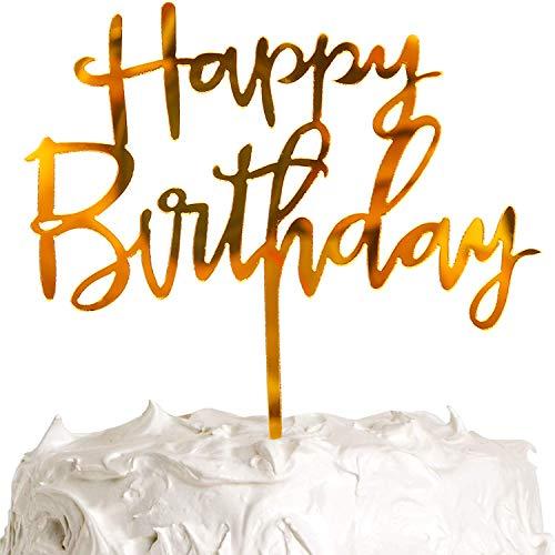 PartyWoo Topper Tarta Cumpleaños, Adorno Acrílico para Tarta de Cumpleaños de 4.7 Pulgadas, Decoración de Tartas Oro, Decoración para Tartas