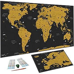 WIDETA Mapa del mundo para rascar en Italia, XXL (82x43 cm) / Papel pintado extra grueso 300 g/m2 y laminado con película protectora/Mapa de Europa Bonus, accesorios y paquetes de regalo