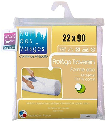 Nuit des Vosges 2071719 Aubin Sous-Taie Fermée de Traversin Absorbante Molleton/Coton Blanc 22 x 90 cm