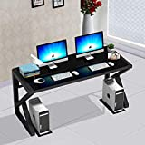 Tempered Glass Computer Desk with K-Shaped Metal Frame, Fashion Modern Design Writing and Study Desk, Work Desk for Home Office (55.1 inch)