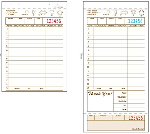 Alliance Guest Checks 4-1/4' x 8-1/2' 2-Pt Carbonless Tan Color 15 Lines, 250 per Pack, 8 Packs per Carton, 2,000 Total Checks