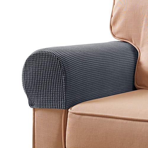 subrtex Spandex Stretch Fabric Armrest Covers Anti-Slip Furniture Protector Armchair Slipcovers for Recliner Sofa Set of 2 with Free Fixing Tools Twist Pins (Gray), Two Pieces, 2pcs