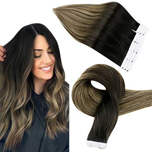 Easyouth Tape in Hair Extensions de Cheveux Humains Ombre Couleur Off Black Fading to Medium Brown Surligné avec un Blond Moyen Extensions Adhesive Na
